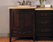 "46.5"" Silkroad Single Sink Cabinet w/Drawer Bank, LED Lights"