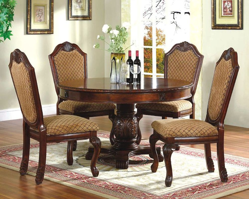 5pc Dining Room Set with Round Table in Classic Cherry  : 5pc dining room set with round table in classic cherry mcfd5006 1 24 from www.homefurnituremart.com size 1000 x 800 jpeg 184kB