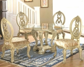 *5pc Dining Set with Glass Top Table in White MCFD6009-1