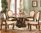 5pc Traditional Dining Set with Marble Top Table in Cherry MCFRD0017-1