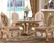 *5pc Traditional Dining Set with Marble Top Table in White MCFRD0018-1