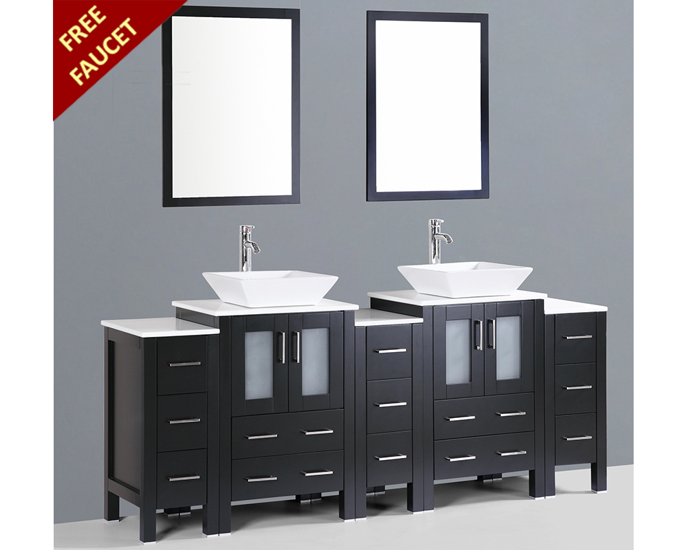 Square Sink Vanity : 84in Double Square Vessel Sink Vanity by Bosconi BOAB224S3S