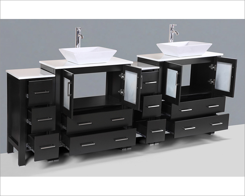 84in Square Vessel Sink Double Vanity by Bosconi BOAB230S2S
