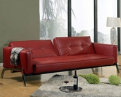 Abbyson Franklin Red Faux Leather Convertible Sofa AB-55MS-S91A-RED