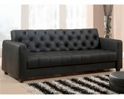 Abbyson Oxford Black Faux Leather Convertible Sofa AB-55MS-F07-BLK