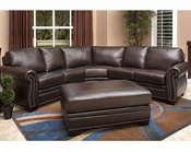 Abbyson Oxford Italian Leather Sectional Sofa AB-55CI-N410-BRN