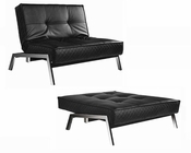 Abbyson Venice  Convertible Euro Chair Lounger AB-55MS-S61SIN-P03-BLK