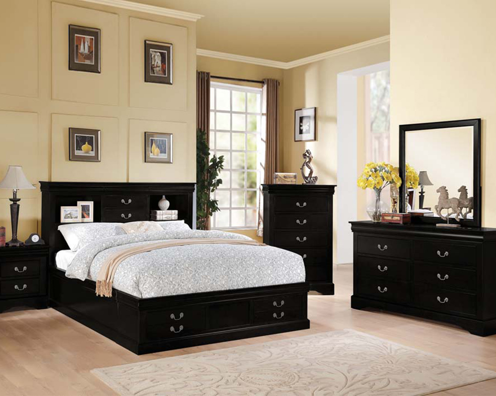Contemporary Bedroom Set London Black By Acme Furniture: Acme Black Bedroom Set Louis Philippe III AC24390SET