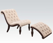 Acme Chair w/ Ottoman in Beige Fabric AC96200