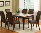 Acme Dining Set w/ White Marble Top Table Britney AC70060A-SET