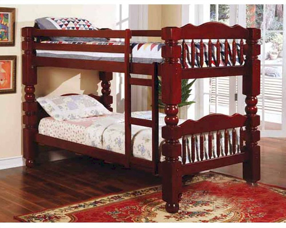 Acme Furniture   Post Twin Over Twin Bunk Bed In Cherry Ac