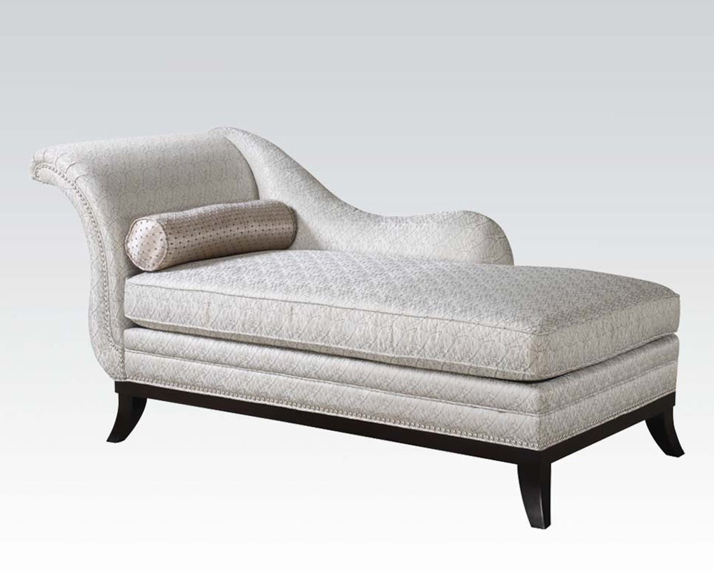 Acme furniture beige fabric chaise ac96198 - Chaise tissu beige ...