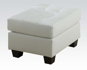 Acme Furniture White Ottoman Platinum AC15098B