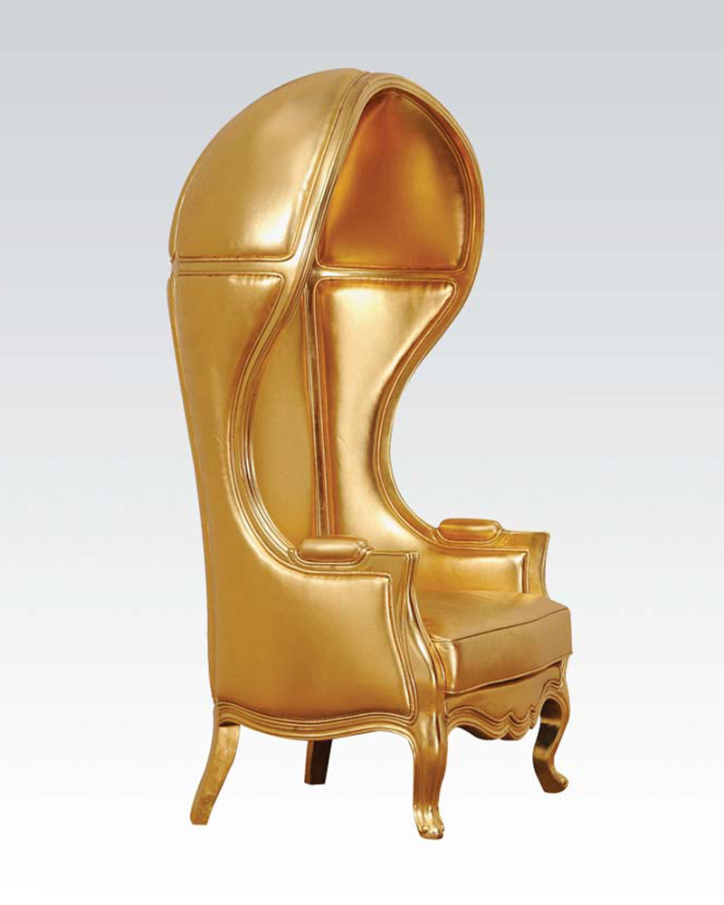 Acme Gold Finish Hooded Accent Chair AC