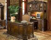 AICO Home Office Set Windsor Court in Honey Walnut AI-7020
