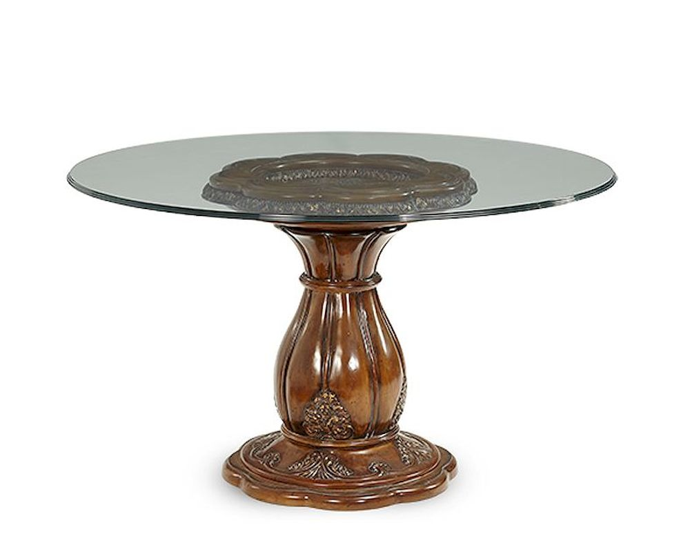 Aico lavelle melange 54in round glass top dining table ai - Glass topped dining table ...
