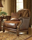 AICO Leather / Fabric Barrel Chair Windsor Court AI-70934-BRICK-54