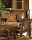 AICO Leather / Fabric Club Chair Windsor Court AI-70935-BRICK-54
