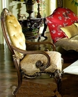 AICO Leather / Fabric Wood Chair Chateau Beauvais AI-75934-TRGLD-39