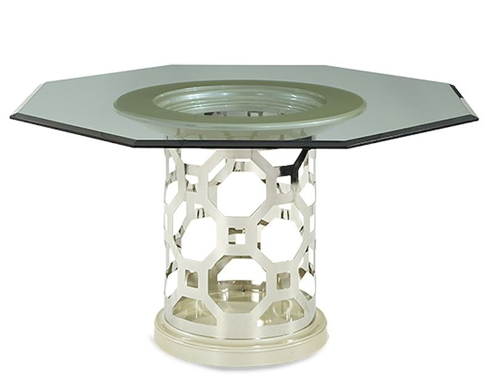 AICO After Eight 60in Glass Top Dining Table In Pearl AI 19001 101 08