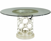 AICO After Eight 60in Round Glass Top Dining Table  AI-19001-GL60TE-08
