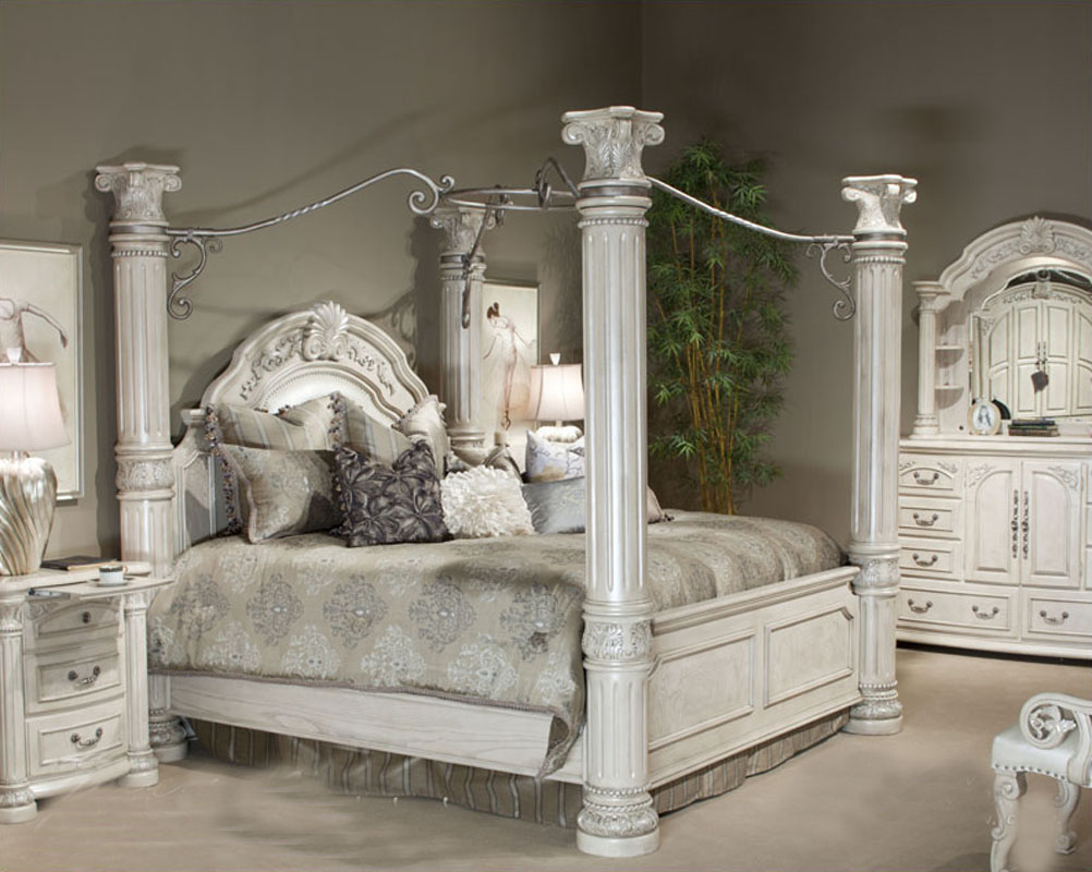 AICO Poster Bedroom Set Monte Carlo II In Silver Pearl AI N530 03