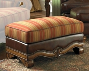 AICO Wood Trim Leather / Fabric Ottoman Tuscano AI-34977-BRICK-26