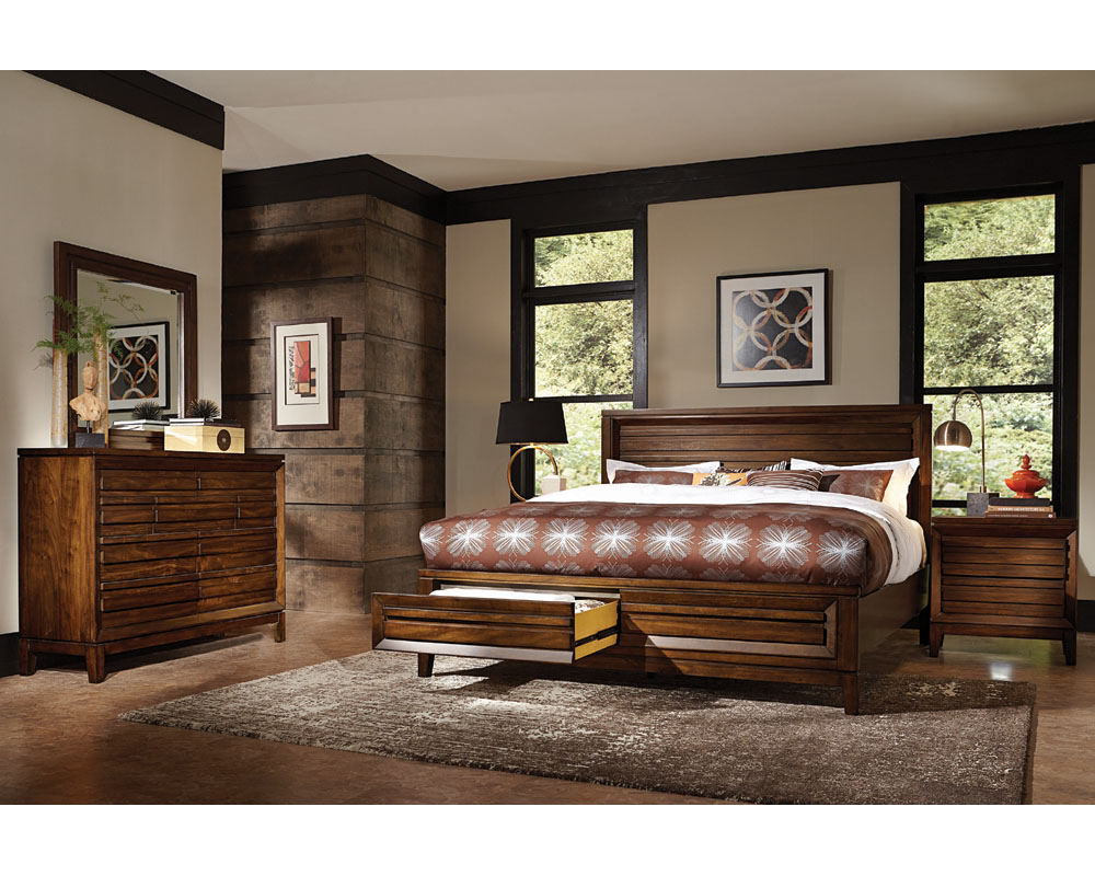 aspenhome bedroom set w panel storage bed walnut park asi05 412sset