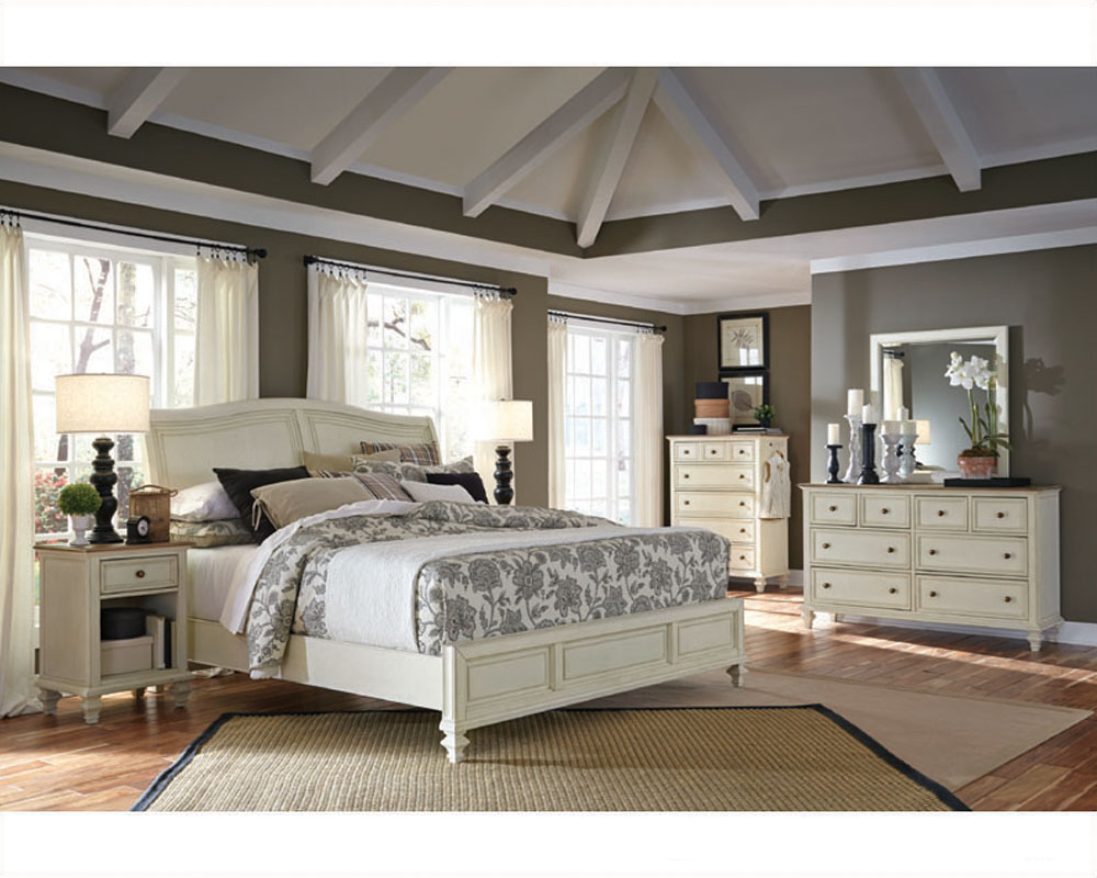 aspenhome bedroom w sleigh bed cottonwood asi67 400 4set