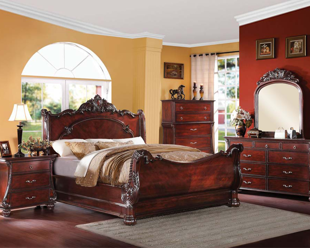 Bedroom Set In Cherry Finish Abramson By Acme Furniture