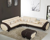 Beige and Brown Modern Leather Sectional Sofa Set 44L816B