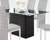 Black Base Dining Table w/ Clear Glass Abbie by Acme AC70714