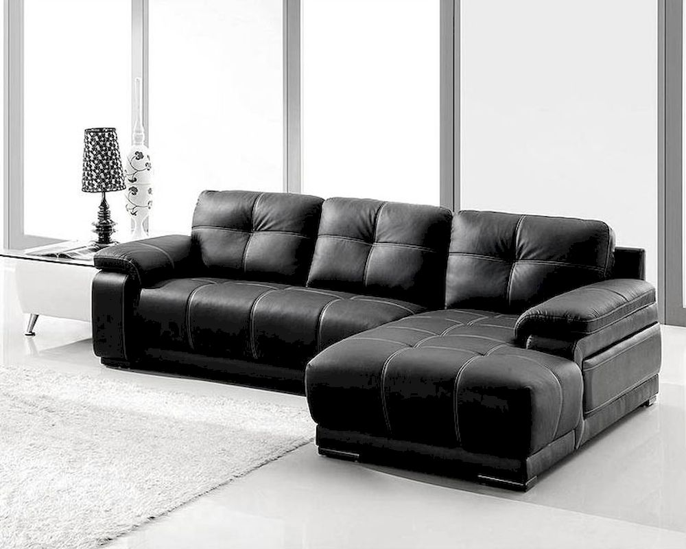 Black bonded leather sectional sofa set 44l2972s for Black sectional sofa