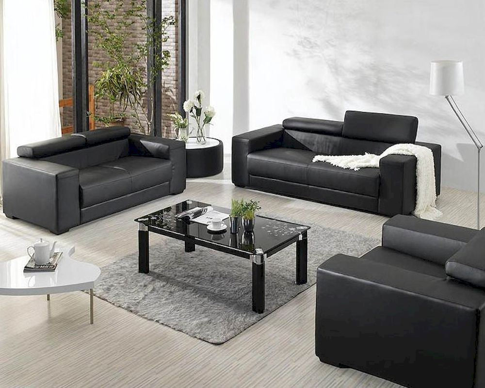 Black Bonded Leather Sofa Set 44L2909