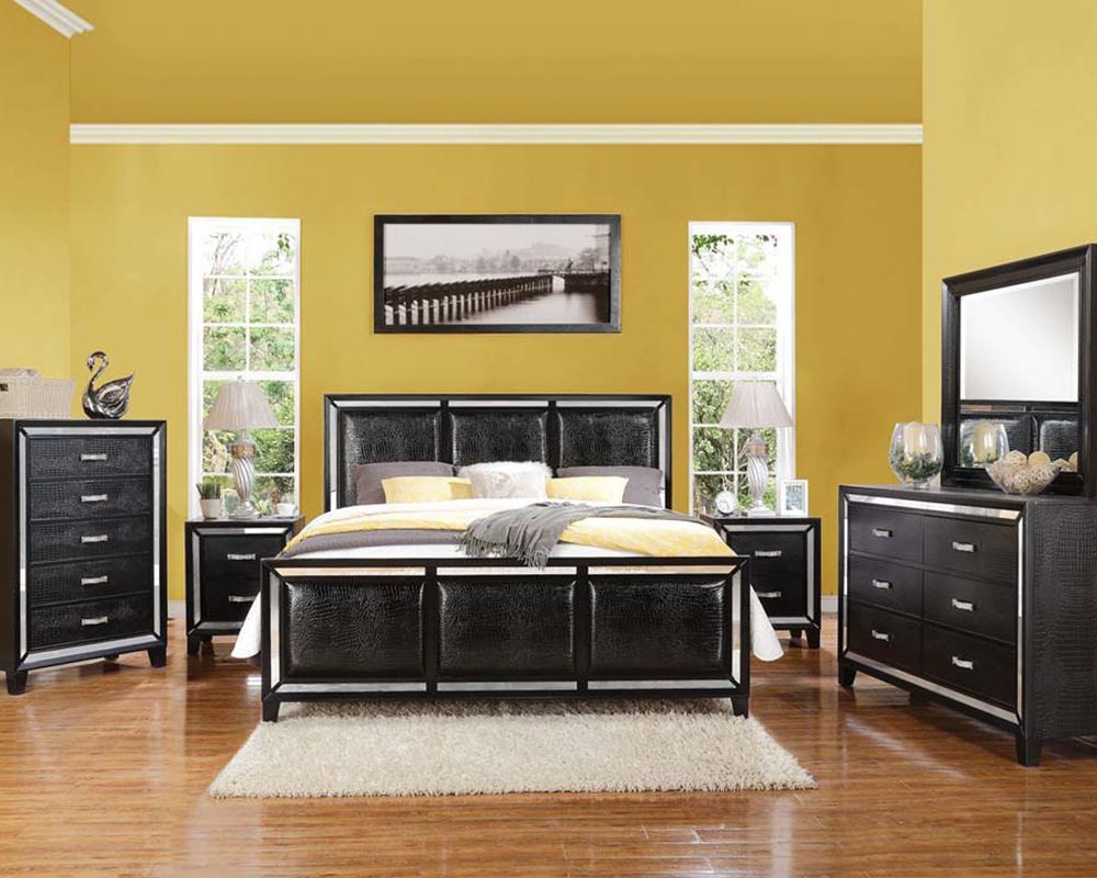 Contemporary Bedroom Set London Black By Acme Furniture: Black Crocodile Bedroom Set Elberte By Acme Furniture