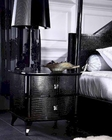 Black Crocodile Lacquer Nightstand 44B222NS