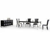 Black Dining Set w/ Lacquer Table in Contemporary Style 44D208-SET