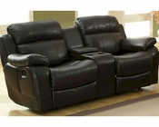 Black Double Glider Reclining Loveseat Marille by Homelegance EL-9724BLK-2