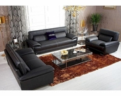 Black Italian Leather Sofa Set 44L6069