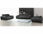 Black Italian Leather Tufted Sofa Set 44L6097
