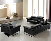 Black Leather Modern Sofa Set 44L0657