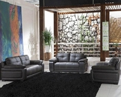 Black Leather Sofa Set 44L2972