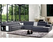 Bonded Leather Sectional Sofa w/ Lights in Contemporary Style 44L6028