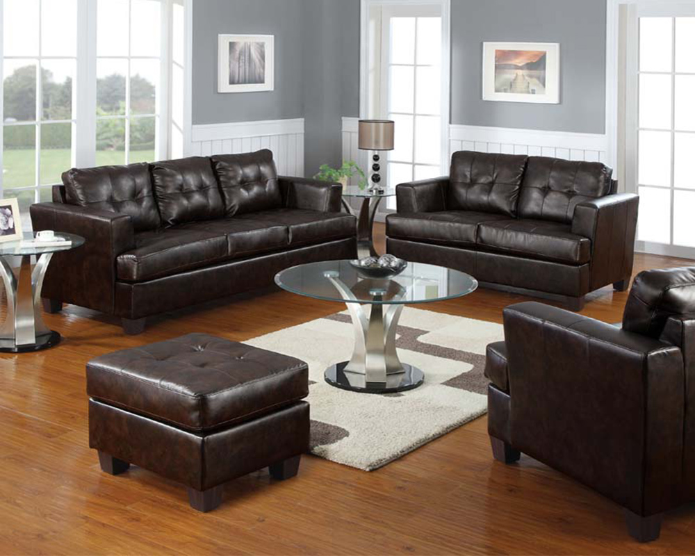 Bonded Leather Sofa Set Platinum by Acme Furniture