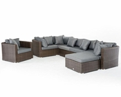 Brown and Grey Outdoor Sectional Sofa Set 44P202-SET