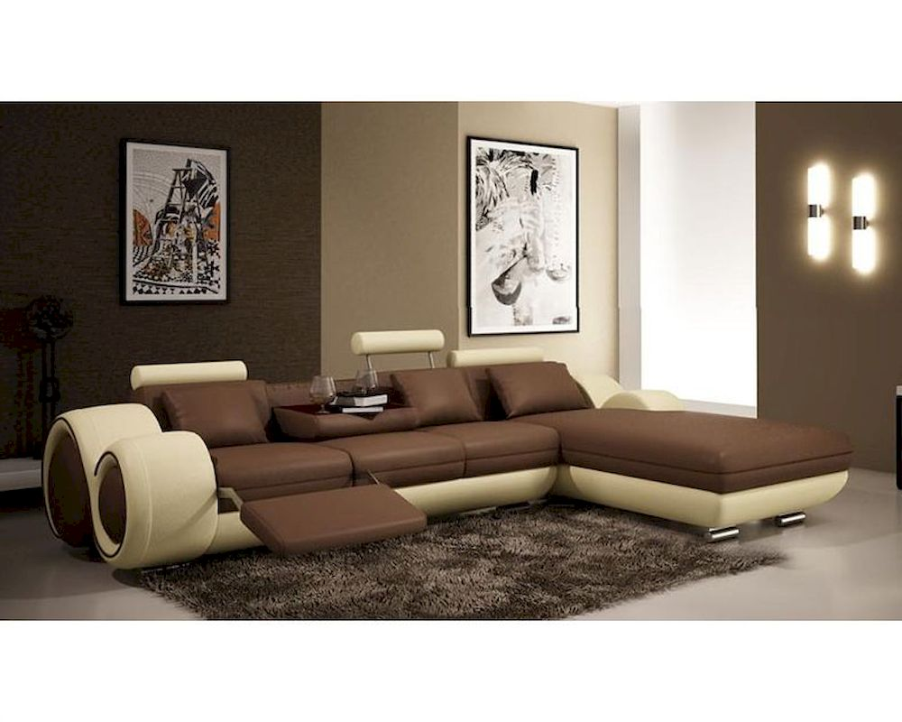 Brown Beige Leather Sectional Sofa 44l6024