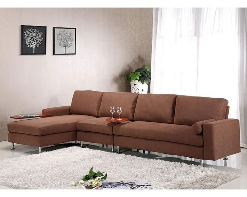Brown Fabric Sectional Sofa w/ Ottoman in ontemporary Style 44L6004 - ^