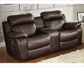 Brown Finish Double Glider Reclining Loveseat Marille by Homelegance EL-9724BRW-2