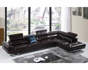 Brown Italian Leather Sectional Sofa in Modern Style 44L5203
