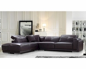 Brown Leather Sectional Sofa in Contemporary Style 44L5981